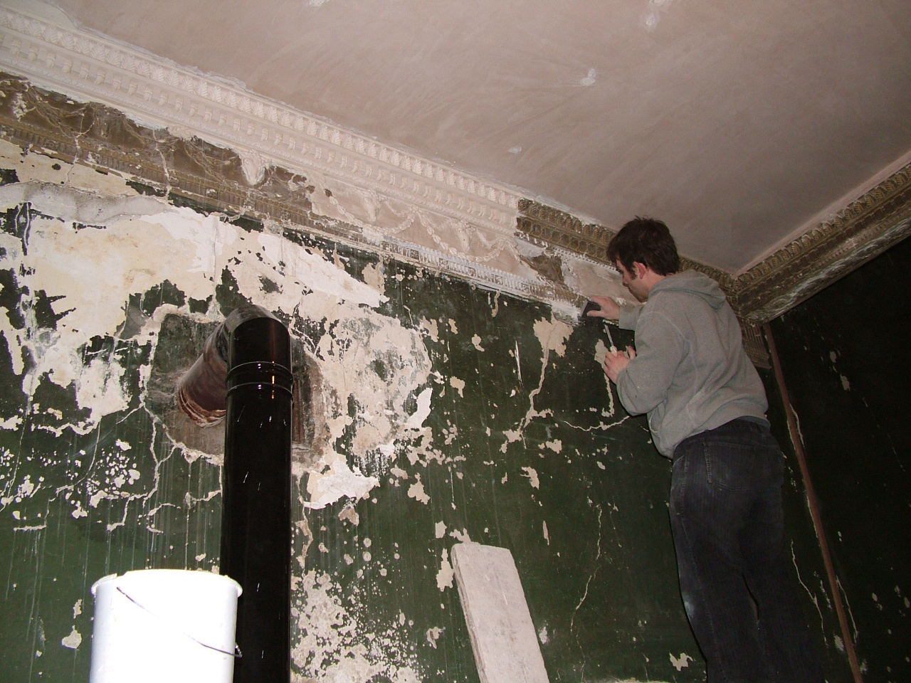Davidstown Hse work on cornice before and after